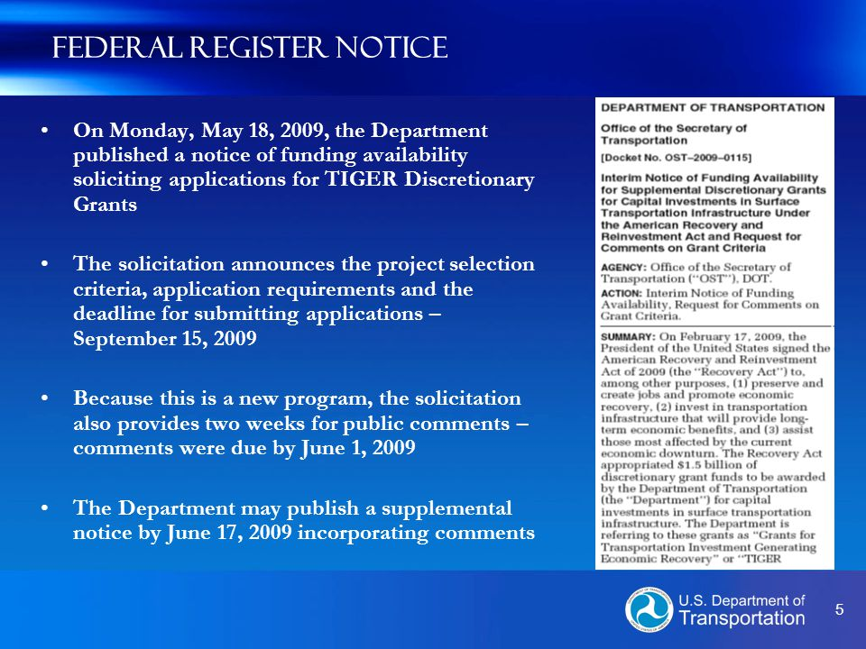6 Eligibility Requirements Eligible Applicants: Funds will be awarded to State and local governments, including U.S.