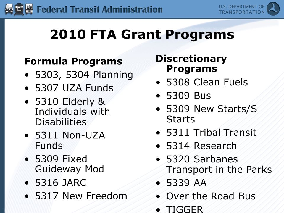 2010 FTA Grant Programs Formula Programs 5303, 5304 Planning 5307 UZA Funds 5310 Elderly & Individuals with Disabilities 5311 Non-UZA Funds 5309 Fixed Guideway Mod 5316 JARC 5317 New Freedom Discretionary Programs 5308 Clean Fuels 5309 Bus 5309 New Starts/S Starts 5311 Tribal Transit 5314 Research 5320 Sarbanes Transport in the Parks 5339 AA Over the Road Bus TIGGER