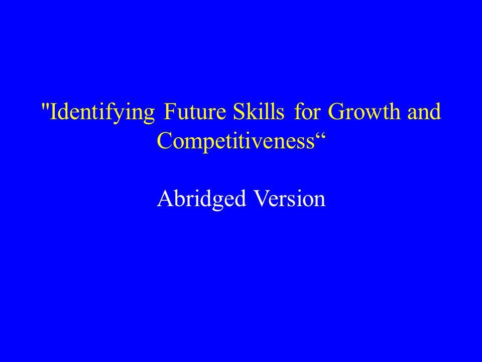 Tomorrow's Skills: Towards a National Skills Strategy.