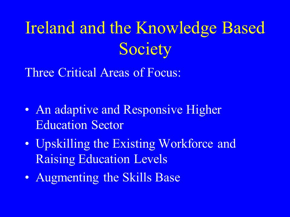 Ireland and the Knowledge Based Society Three Critical Areas of Focus: An adaptive and Responsive Higher Education Sector Upskilling the Existing Workforce and Raising Education Levels Augmenting the Skills Base