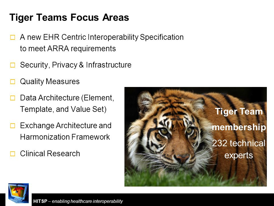 HITSP – enabling healthcare interoperability Tiger Teams Focus Areas  A new EHR Centric Interoperability Specification to meet ARRA requirements  Security, Privacy & Infrastructure  Quality Measures  Data Architecture (Element, Template, and Value Set)  Exchange Architecture and Harmonization Framework  Clinical Research Tiger Team membership 232 technical experts