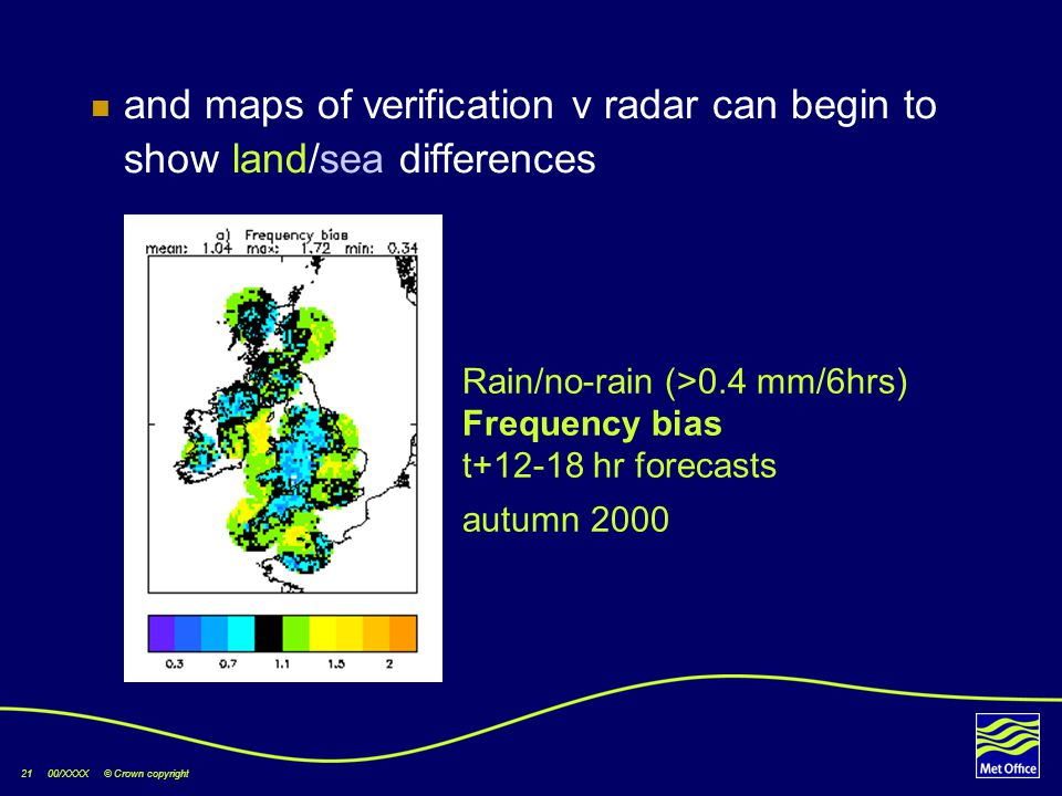 21 00/XXXX © Crown copyright and maps of verification v radar can begin to show land/sea differences v radar Rain/no-rain (>0.4 mm/6hrs) Frequency bias t+12-18 hr forecasts autumn 2000