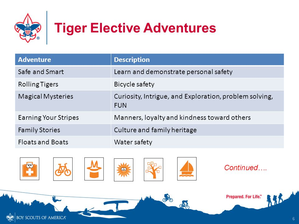 Tiger Elective Adventures 6 AdventureDescription Safe and SmartLearn and demonstrate personal safety Rolling TigersBicycle safety Magical MysteriesCur