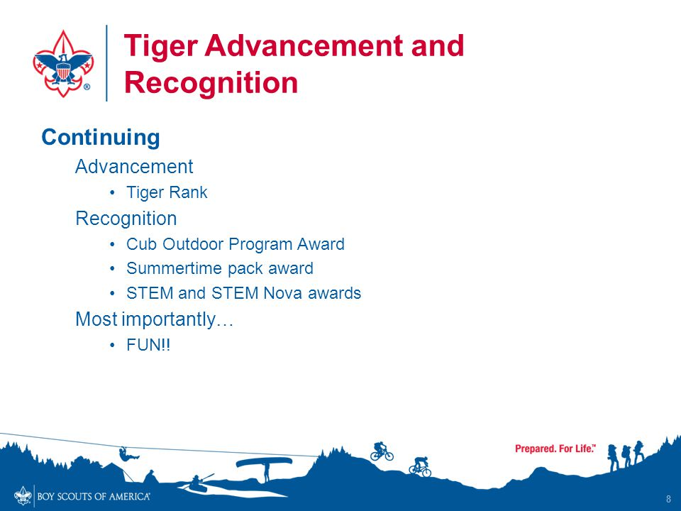 Tiger Advancement and Recognition Continuing Advancement Tiger Rank Recognition Cub Outdoor Program Award Summertime pack award STEM and STEM Nova awa