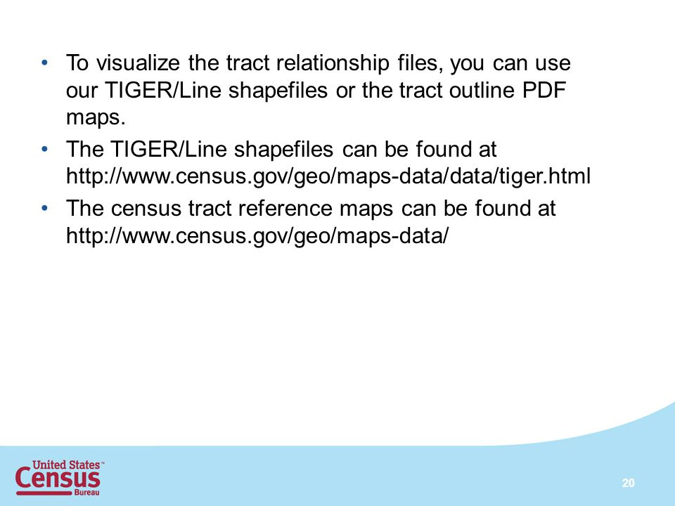 To visualize the tract relationship files, you can use our TIGER/Line shapefiles or the tract outline PDF maps.
