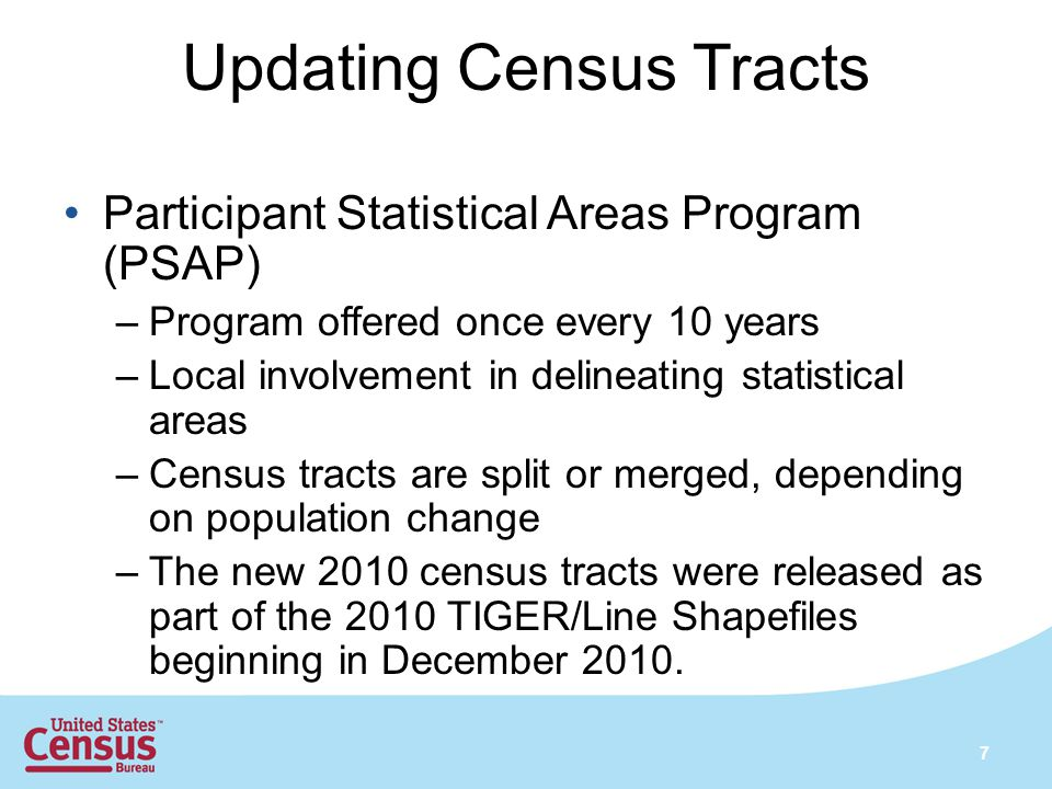 Updating Census Tracts Participant Statistical Areas Program (PSAP) –Program offered once every 10 years –Local involvement in delineating statistical areas –Census tracts are split or merged, depending on population change –The new 2010 census tracts were released as part of the 2010 TIGER/Line Shapefiles beginning in December 2010.