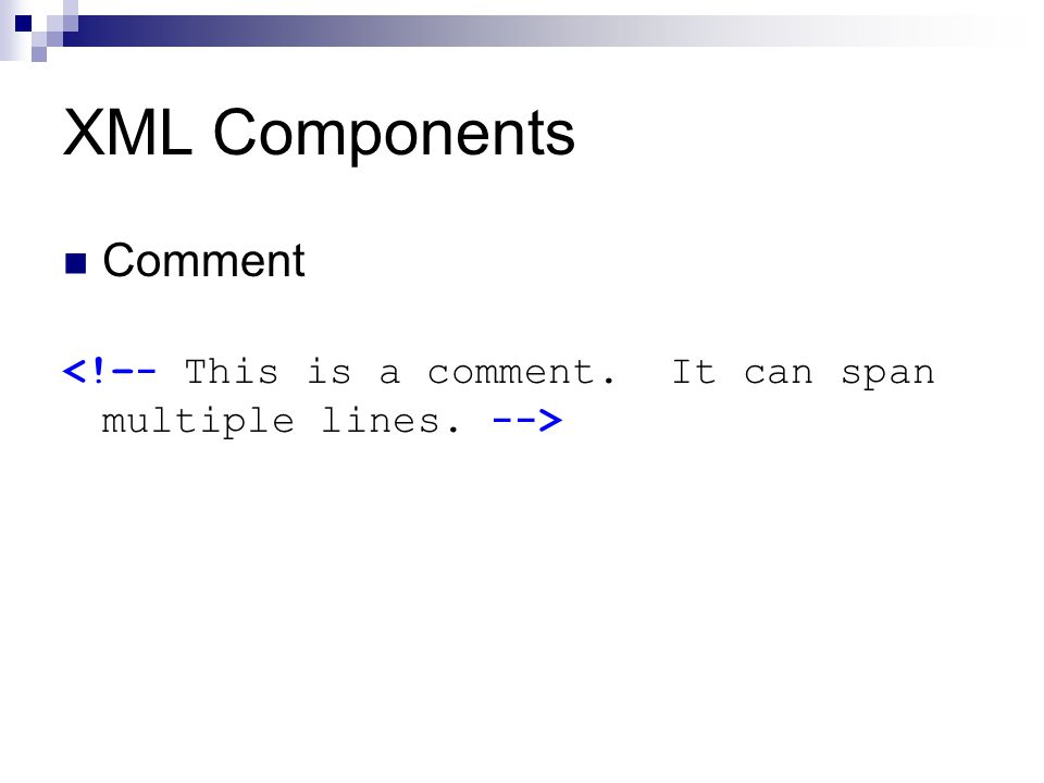 XML Components Comment