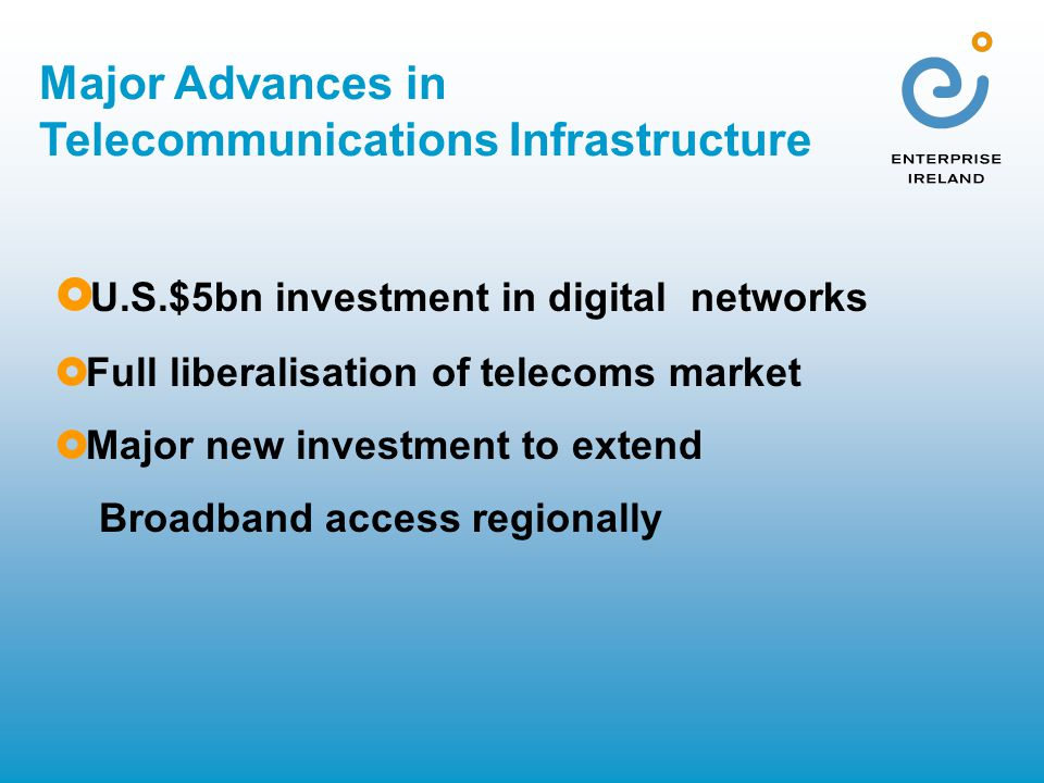 Major Advances in Telecommunications Infrastructure  U.S.$5bn investment in digital networks  Full liberalisation of telecoms market  Major new investment to extend Broadband access regionally