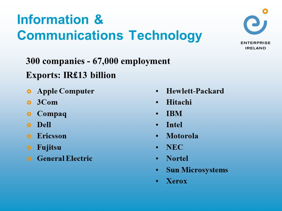 Information & Communications Technology  Apple Computer  3Com  Compaq  Dell  Ericsson  Fujitsu  General Electric Hewlett-Packard Hitachi IBM Intel Motorola NEC Nortel Sun Microsystems Xerox 300 companies - 67,000 employment Exports: IR£13 billion
