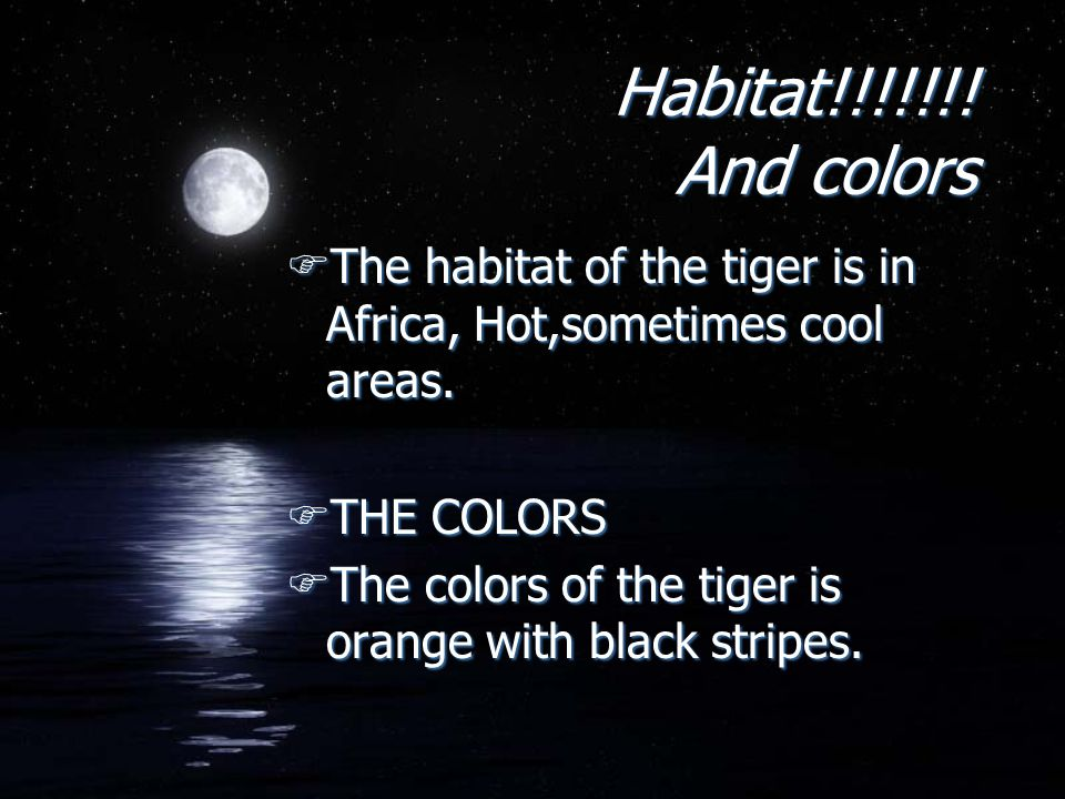Habitat!!!!!!. And colors FThe habitat of the tiger is in Africa, Hot,sometimes cool areas.