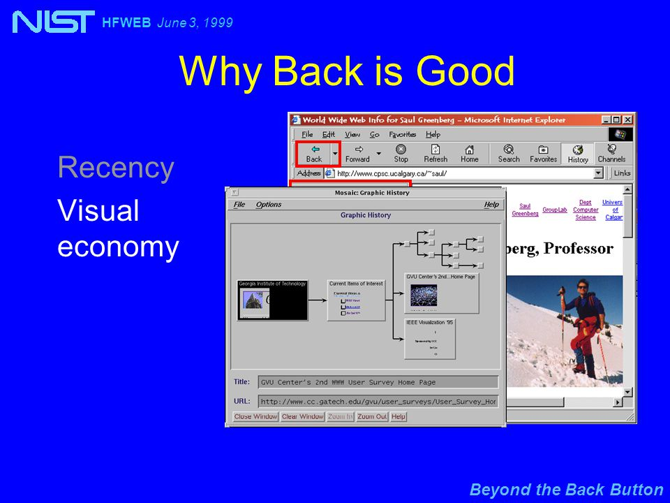Beyond the Back Button HFWEB June 3, 1999 Why Back is Good Recency Visual economy