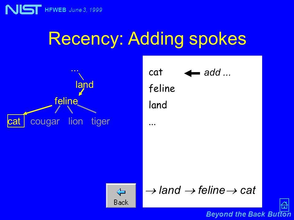 Beyond the Back Button HFWEB June 3, 1999 Recency: Adding spokes... cat feline land...  land  feline  cat add... land feline cat cougarliontiger