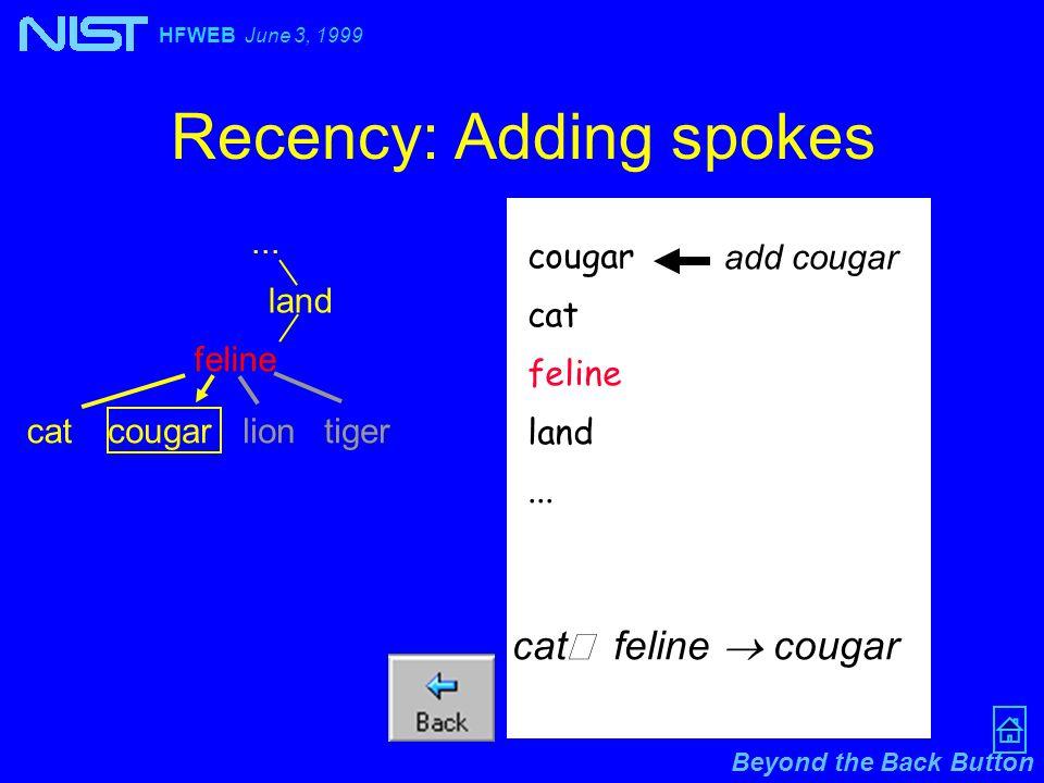 Beyond the Back Button HFWEB June 3, 1999 Recency: Adding spokes... cougar cat feline land... add cougar land feline cat cougar cat  feline  cougar