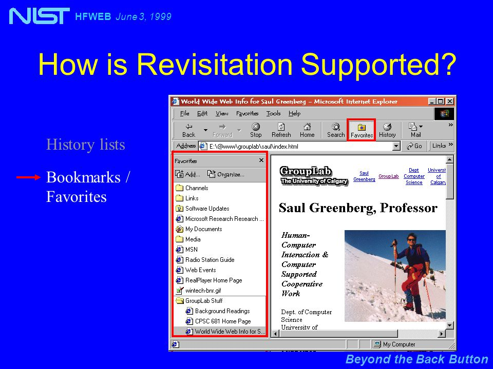 Beyond the Back Button HFWEB June 3, 1999 How is Revisitation Supported.