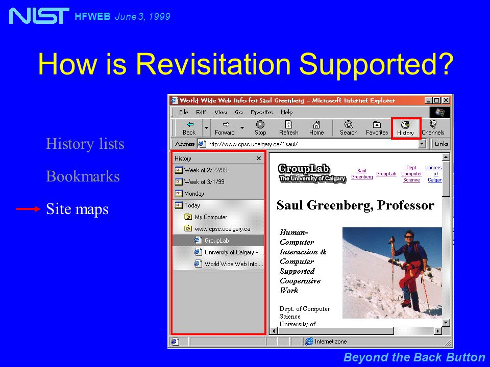 Beyond the Back Button HFWEB June 3, 1999 History lists How is Revisitation Supported.