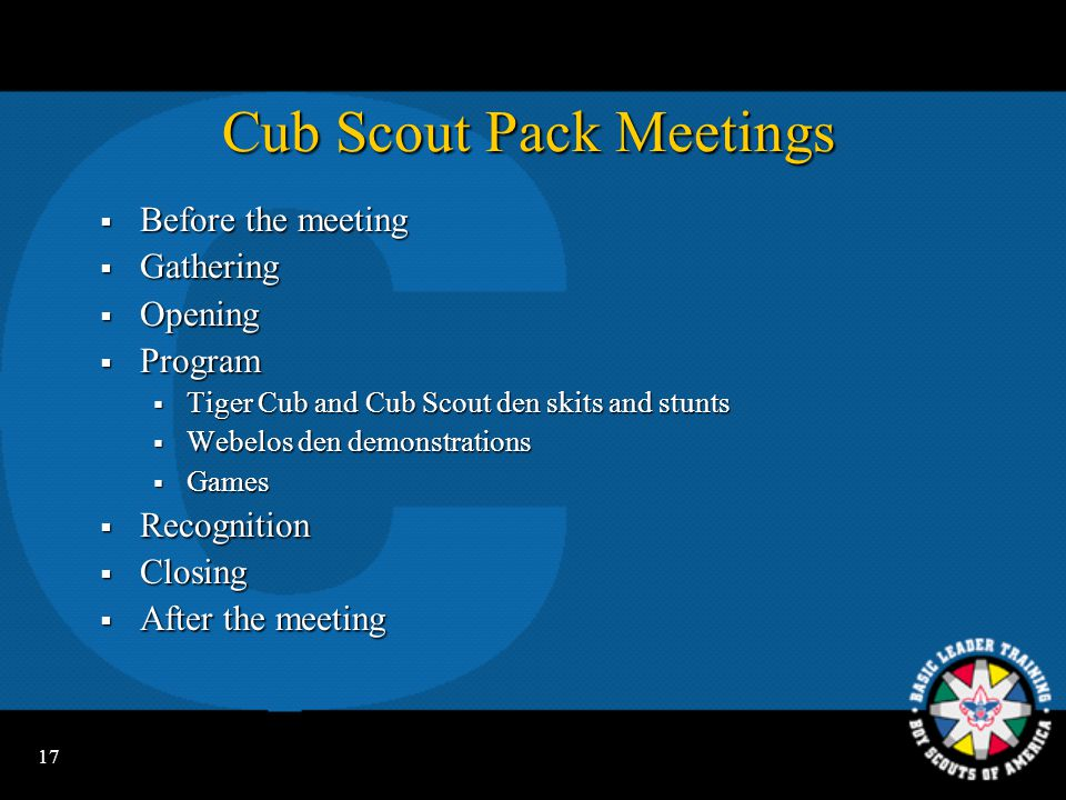 16 Cub Scout Camping  Day camp  Resident camp  Family camping  Pack camping Be sure to include pack camping in your annual program plans.