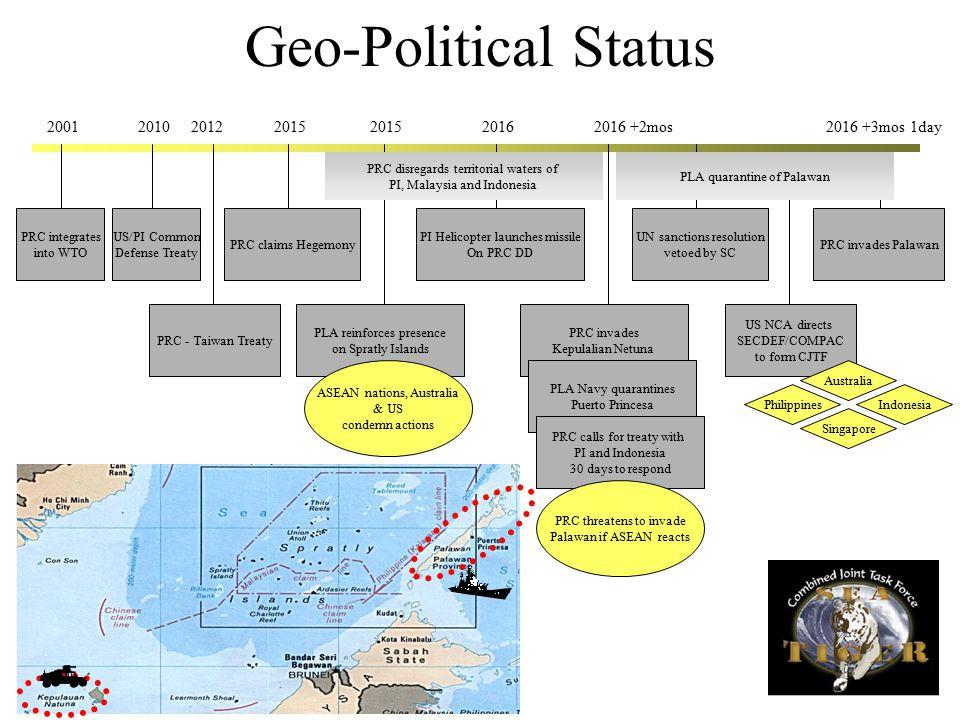 Geo-Political Status PRC integrates into WTO 200120122015 PRC - Taiwan Treaty PRC claims Hegemony PLA reinforces presence on Spratly Islands ASEAN nat
