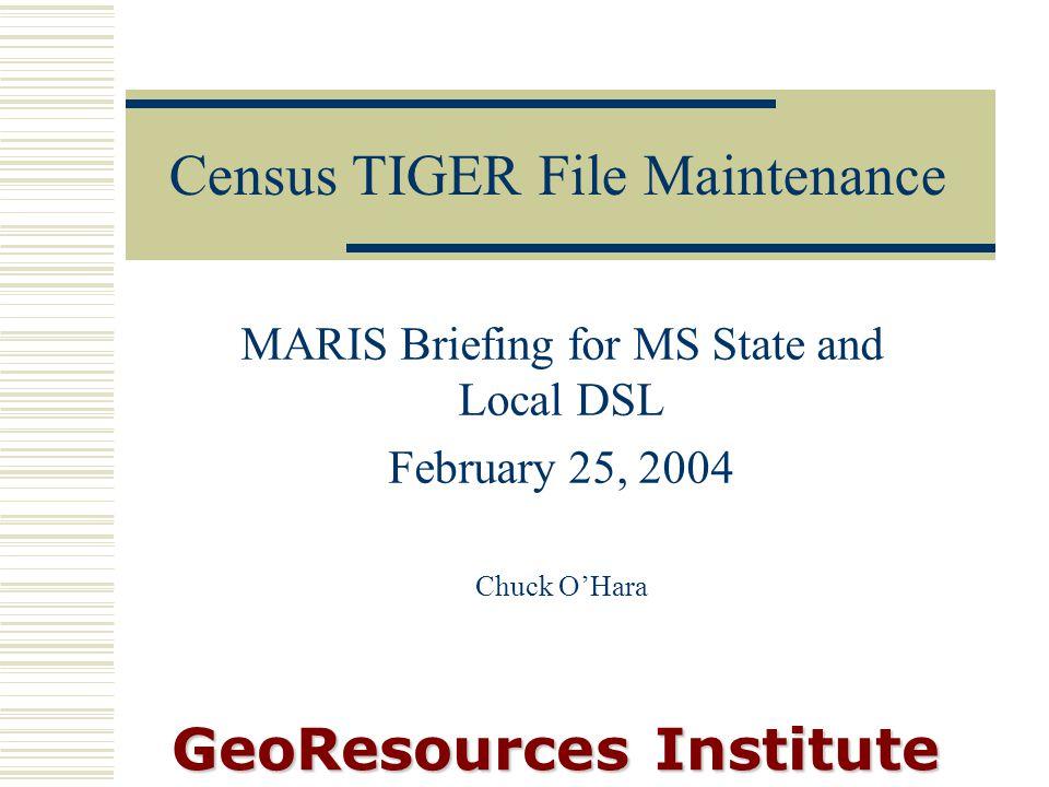 Census TIGER File Maintenance Project: Change
