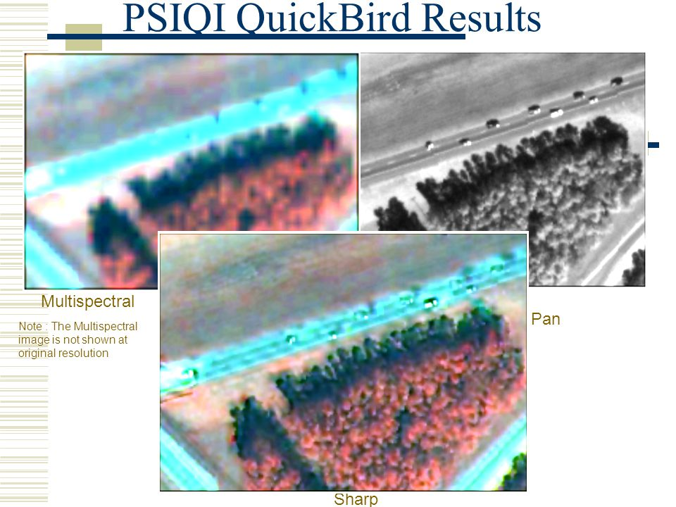 PSIQI QuickBird Results Multispectral Sharp Pan Note : The Multispectral image is not shown at original resolution