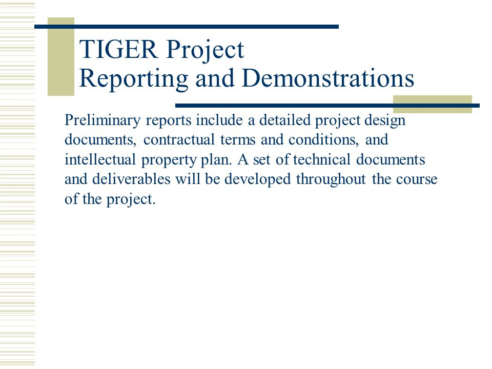 Preliminary reports include a detailed project design documents, contractual terms and conditions, and intellectual property plan.