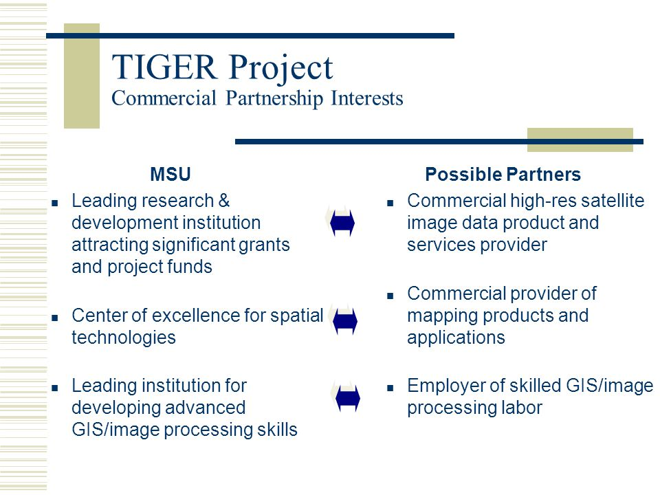 TIGER Project Needs Assessment  Decision Support Labs will be conducted to assess challenges involved in maintaining spatial data sets keeping them current and accurate.