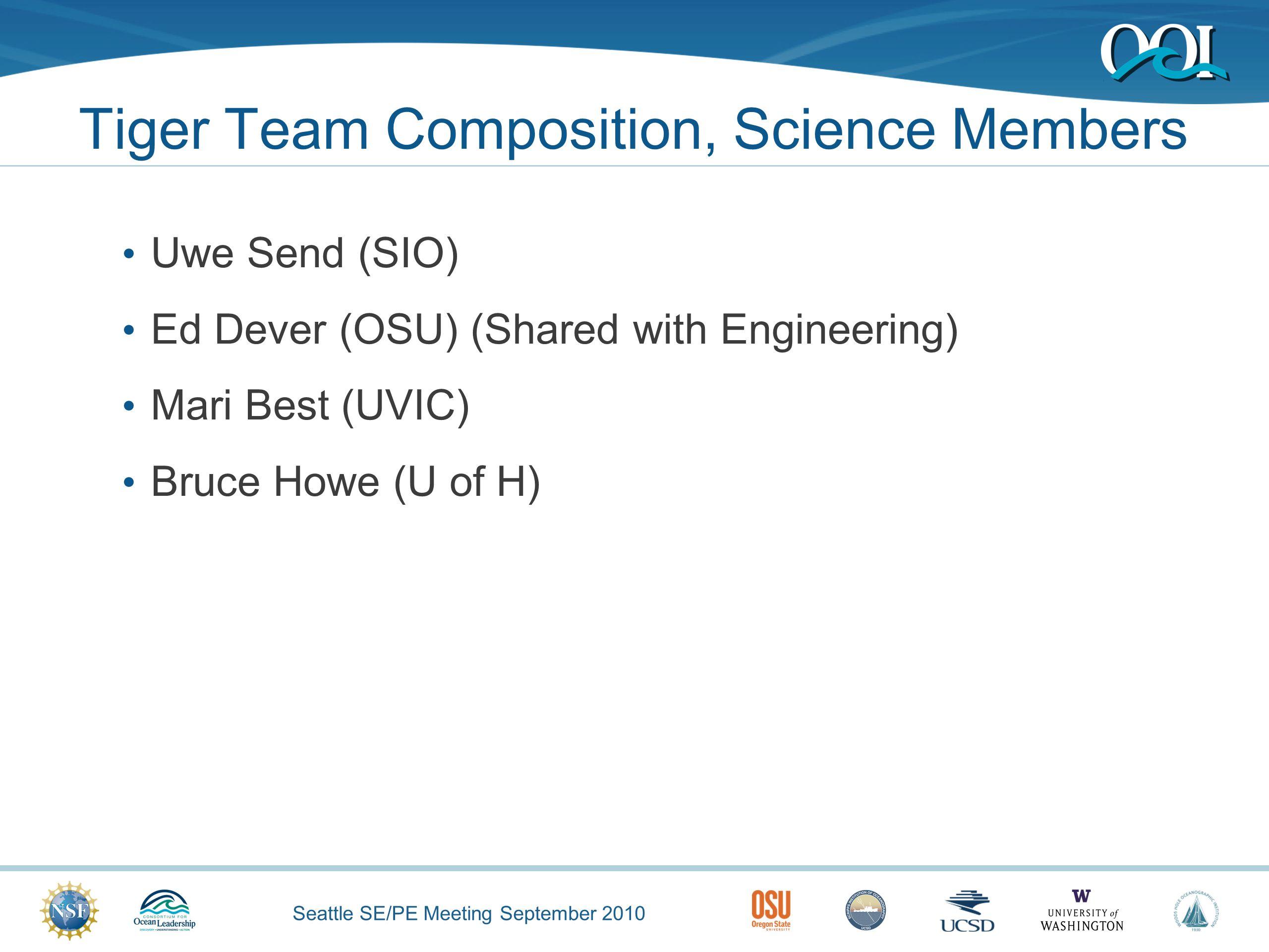 Seattle SE/PE Meeting September 2010 Tiger Team Composition, Science Members Uwe Send (SIO) Ed Dever (OSU) (Shared with Engineering) Mari Best (UVIC) Bruce Howe (U of H)