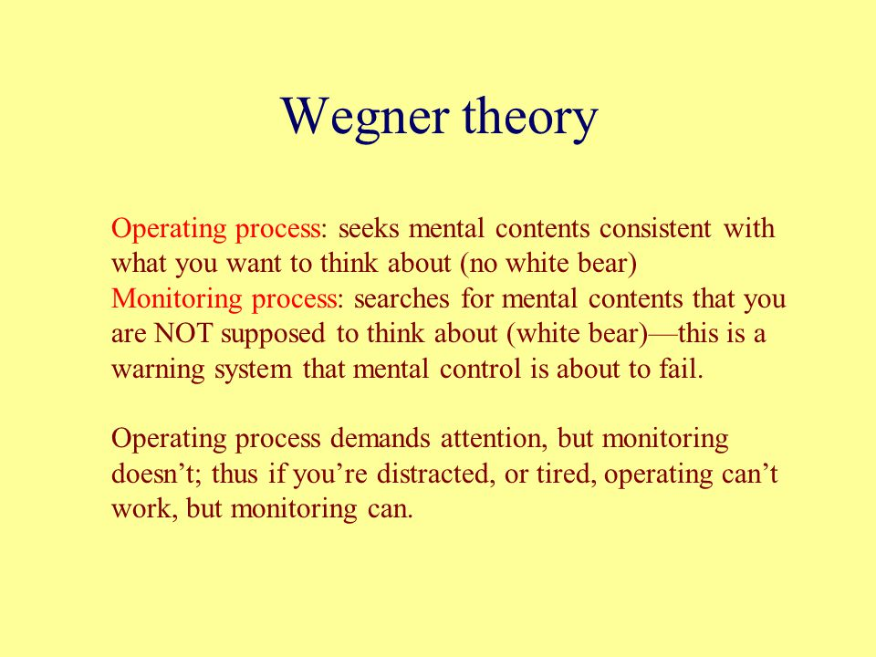 Wegner theory Operating process: seeks mental contents consistent with what you want to think about (no white bear) Monitoring process: searches for m