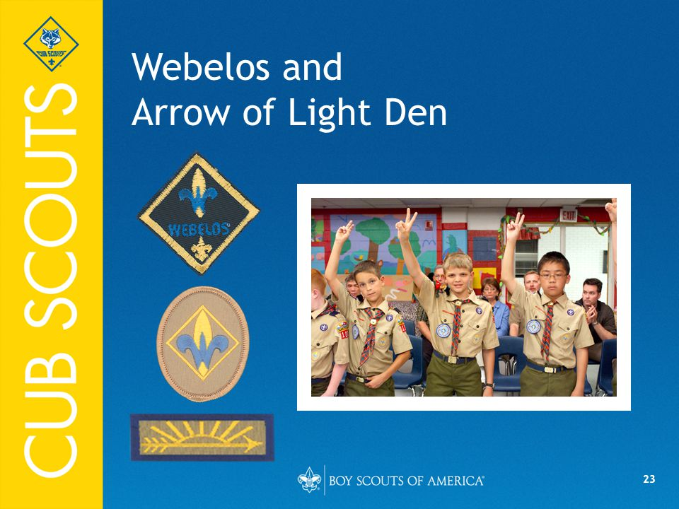 23 Webelos and Arrow of Light Den