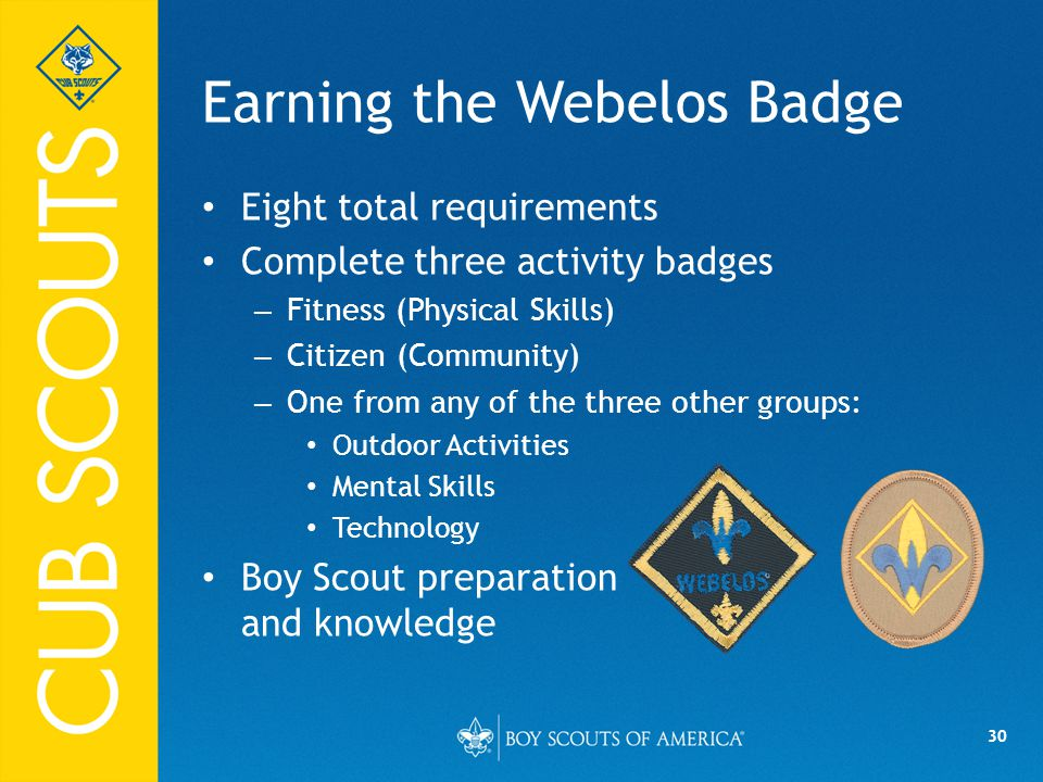 30 Earning the Webelos Badge Eight total requirements Complete three activity badges – Fitness (Physical Skills) – Citizen (Community) – One from any of the three other groups: Outdoor Activities Mental Skills Technology Boy Scout preparation and knowledge