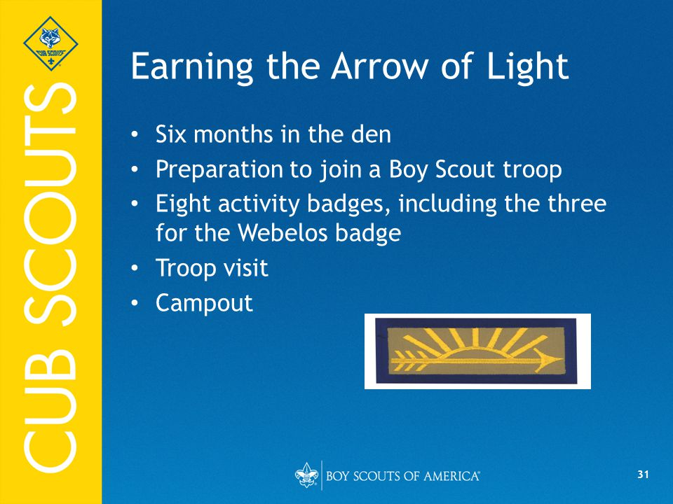 31 Earning the Arrow of Light Six months in the den Preparation to join a Boy Scout troop Eight activity badges, including the three for the Webelos badge Troop visit Campout