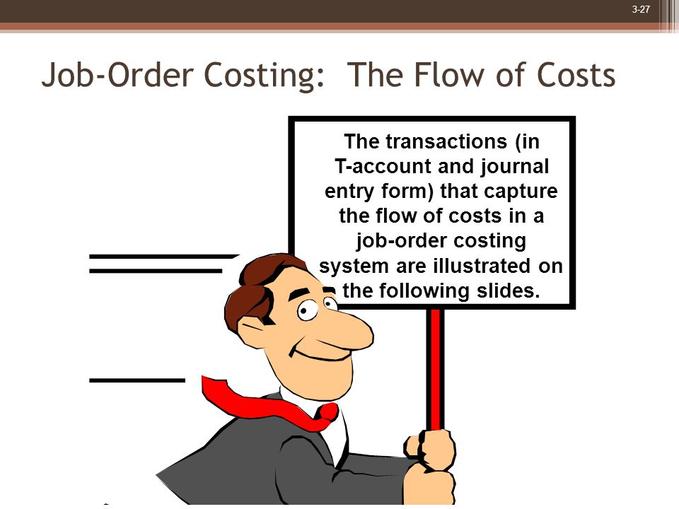 3-27 Job-Order Costing: The Flow of Costs The transactions (in T-account and journal entry form) that capture the flow of costs in a job-order costing system are illustrated on the following slides.