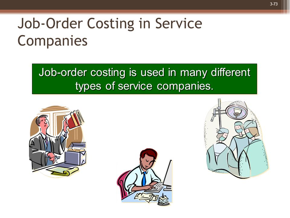 3-73 Job-Order Costing in Service Companies Job-order costing is used in many different types of service companies.