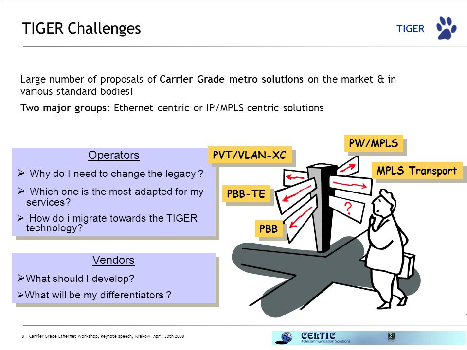 TIGER 8 | Carrier Grade Ethernet Workshop, keynote speech, Krakow, April 30th 2008 TIGER Challenges Large number of proposals of Carrier Grade metro s