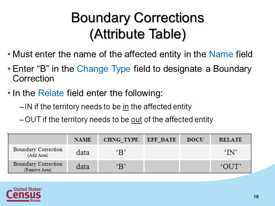 19 Boundary Corrections (Attribute Table) Must enter the name of the affected entity in the Name field Enter B in the Change Type field to designate a Boundary Correction In the Relate field enter the following: –IN if the territory needs to be in the affected entity –OUT if the territory needs to be out of the affected entity