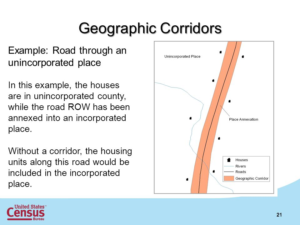 21 Example: Road through an unincorporated place In this example, the houses are in unincorporated county, while the road ROW has been annexed into an incorporated place.