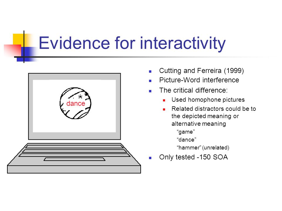 Cutting and Ferreira (1999) Picture-Word interference The critical difference: Used homophone pictures Related distractors could be to the depicted meaning or alternative meaning game dance hammer (unrelated) Only tested -150 SOA dance Evidence for interactivity