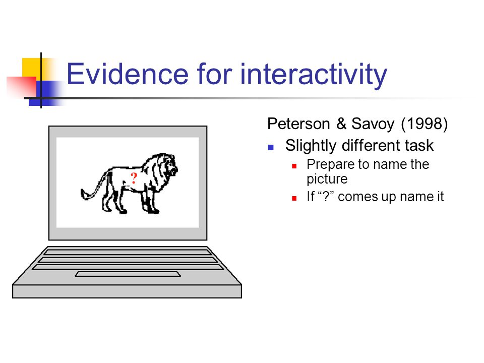 Peterson & Savoy (1998) Slightly different task Prepare to name the picture If comes up name it .