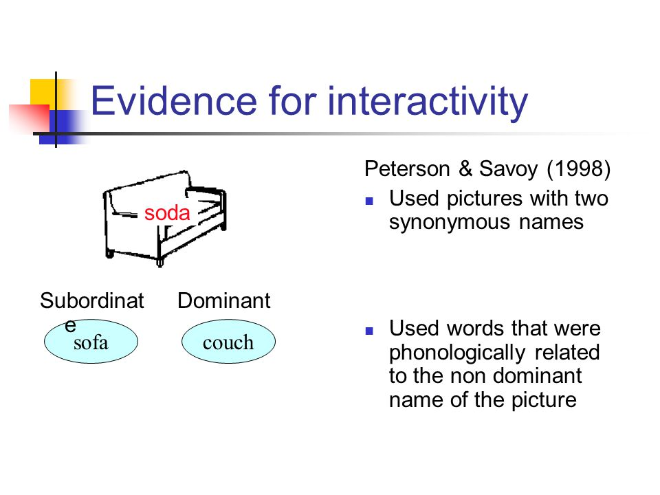 Peterson & Savoy (1998) Used pictures with two synonymous names Used words that were phonologically related to the non dominant name of the picture sofacouch DominantSubordinat e soda Evidence for interactivity