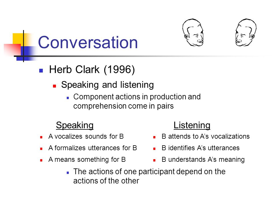 Conversation Herb Clark (1996) Speaking and listening Component actions in production and comprehension come in pairs SpeakingListening A vocalizes sounds for B A formalizes utterances for B A means something for B B attends to A's vocalizations B identifies A's utterances B understands A's meaning The actions of one participant depend on the actions of the other