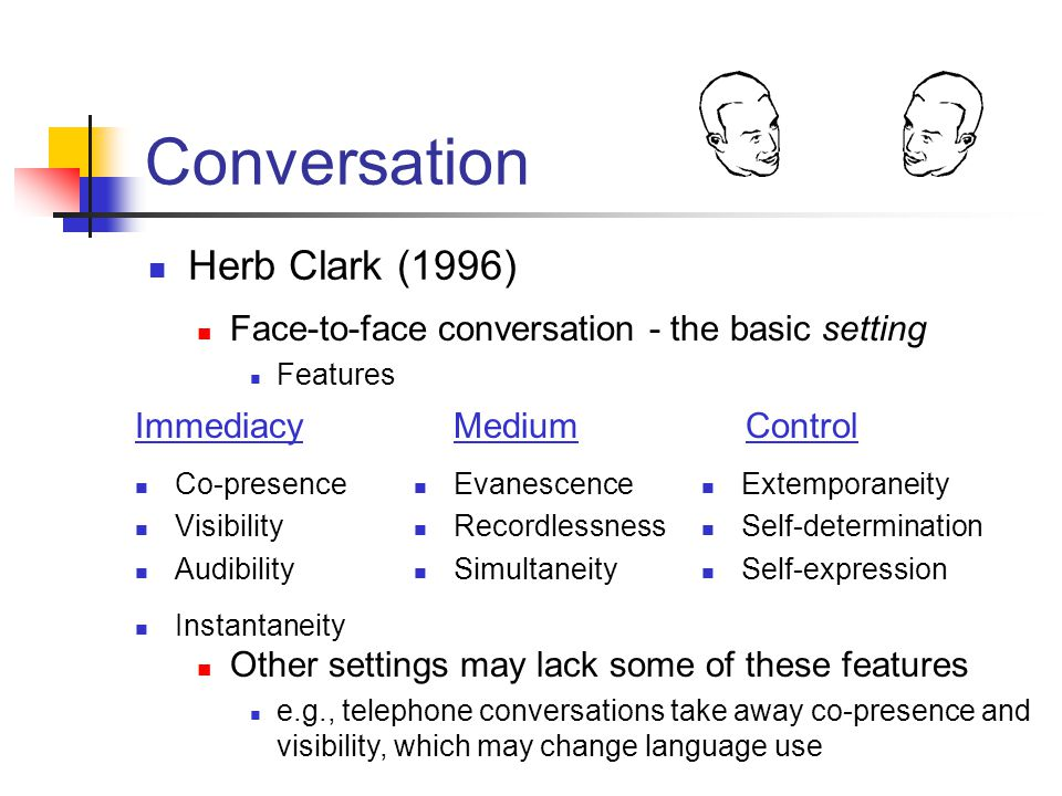 Conversation Herb Clark (1996) Face-to-face conversation - the basic setting Features Co-presence Visibility Audibility Instantaneity Evanescence Recordlessness Simultaneity Extemporaneity Self-determination Self-expression ImmediacyMediumControl Other settings may lack some of these features e.g., telephone conversations take away co-presence and visibility, which may change language use