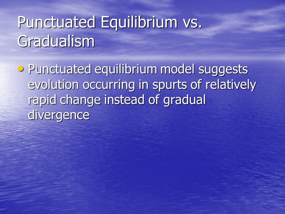 Punctuated Equilibrium vs. Gradualism Punctuated equilibrium model suggests evolution occurring in spurts of relatively rapid change instead of gradua