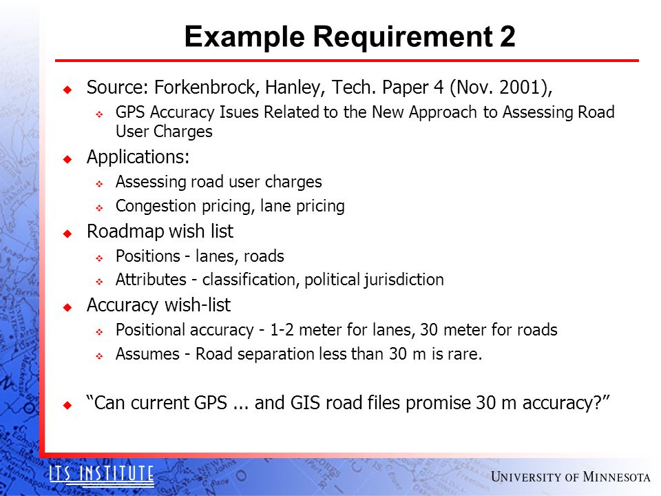 Example Requirement 2 u Source: Forkenbrock, Hanley, Tech.