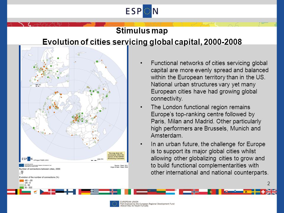 Functional networks of cities servicing global capital are more evenly spread and balanced within the European territory than in the US.