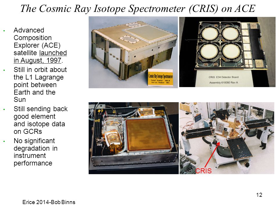 The Cosmic Ray Isotope Spectrometer (CRIS) on ACE Erice 2014-Bob Binns 12 CRIS 10 cm Advanced Composition Explorer (ACE) satellite launched in August, 1997.