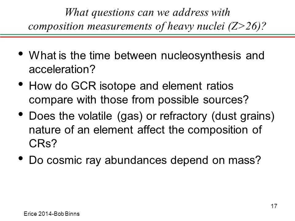 What questions can we address with composition measurements of heavy nuclei (Z>26).