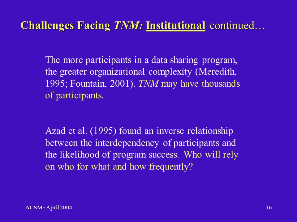 ACSM - April 200415 Challenges Facing TNM: Institutional  Variation in participant priorities;  Variation in GIS experience among participants;  Differences in spatial data handling;  Disagreements among participants regarding data openness, leadership, standards, and cost sharing.