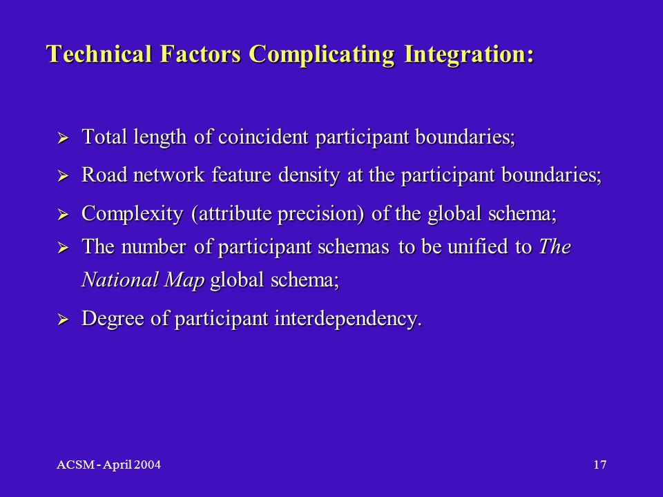 ACSM - April 200416 Challenges Facing TNM: Institutional continued… The more participants in a data sharing program, the greater organizational complexity (Meredith, 1995; Fountain, 2001).