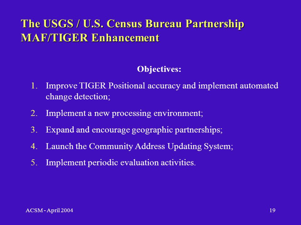 ACSM - April 200418 TNM Road Implementation Plan USGS - U.S.