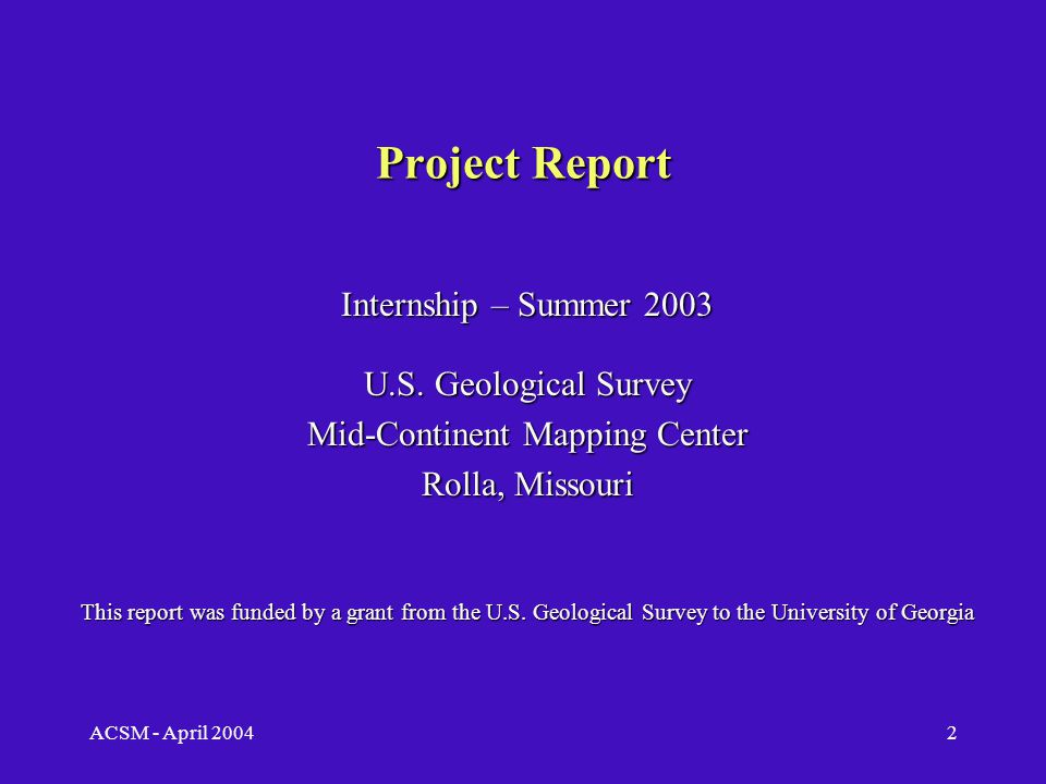 ACSM - April 20041 Implementation of The National Map Road Database Bryan Weaver Masters of Science Candidate Department of Geography University of Georgia Project Report