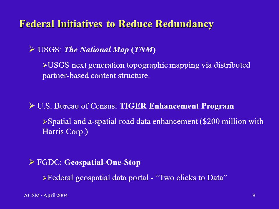 ACSM - April 20048 The Need for Spatial Data Consolidation Existing Public Road Databases:  USGS: Digital Line Graphs (DLG), and Digital Raster Graphics (DRG)  U.S.